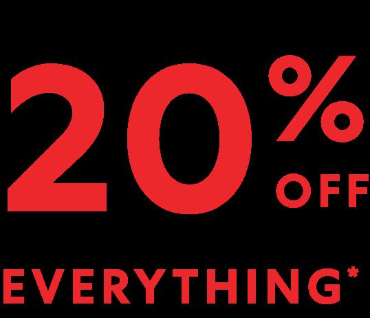 20% en toda la tienda